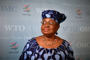Ngozi Okonjo-Iweala in Geneva, following her hearing before WTO member states' representatives, as part of the application process to head the WTO as director general.