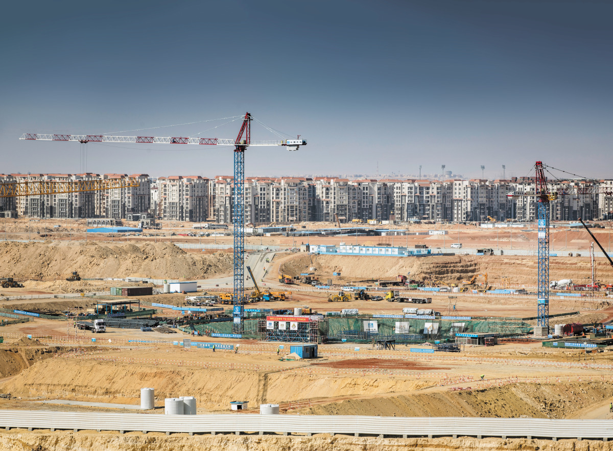 A view of construction work on the financial district in Egypt's new administrative capital.