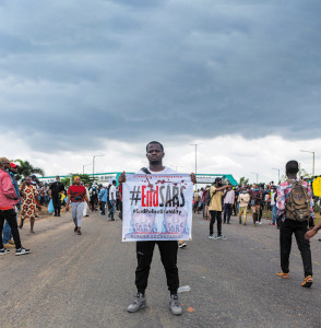 An #EndSARS protester in Lagos, Nigeria, October 2020.