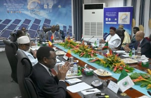 African Development (AfDB) president Akinwumi Adesina at an energy summit with Sahelian presidents in Ouagadougou.