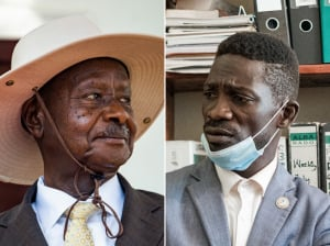 Left: Uganda's President Yoweri Museveni. Right: Ugandan musician turned politician Robert Kyagulanyi, also known as Bobi Wine.