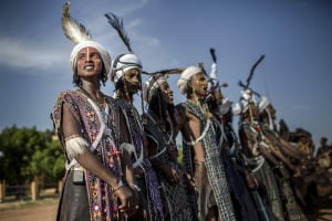 A group of people belonging to the Fulani tribe in traditional costume.