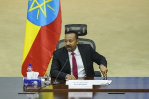 Ethiopian Prime Minister Abiy Ahmed speaks at the House of Peoples Representatives in Addis Ababa, Ethiopia.