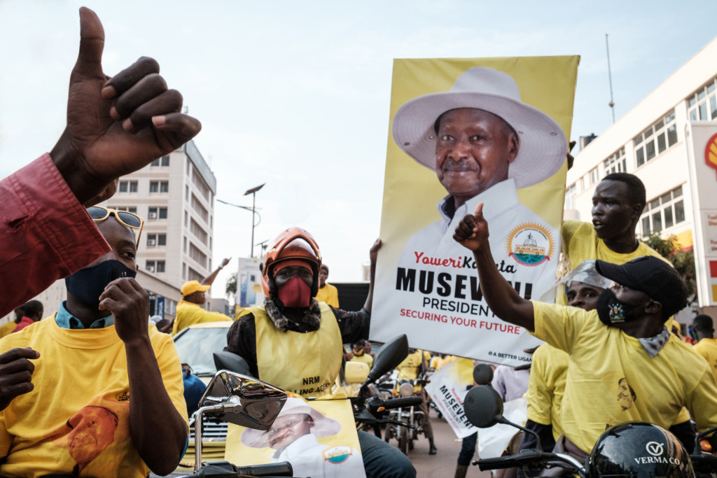 Supporters of President Museveni celebrate his victory in the streets of Kampala.