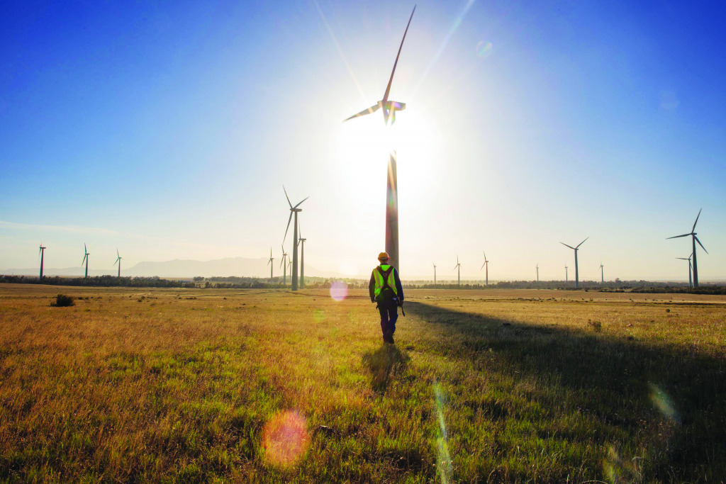 Wnd turbines turning in the wind at the Sere wind farm in South Africa.