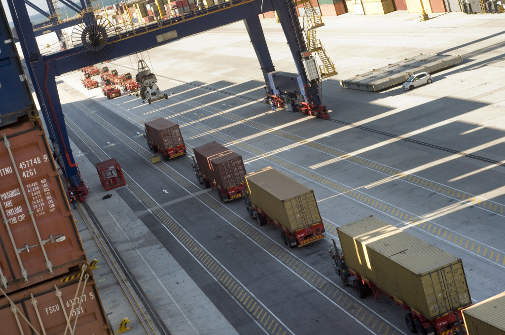 Lorries line up at a container terminal in Africa.