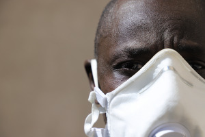 An African man wearing a face mask during the coronavirus pandemic.