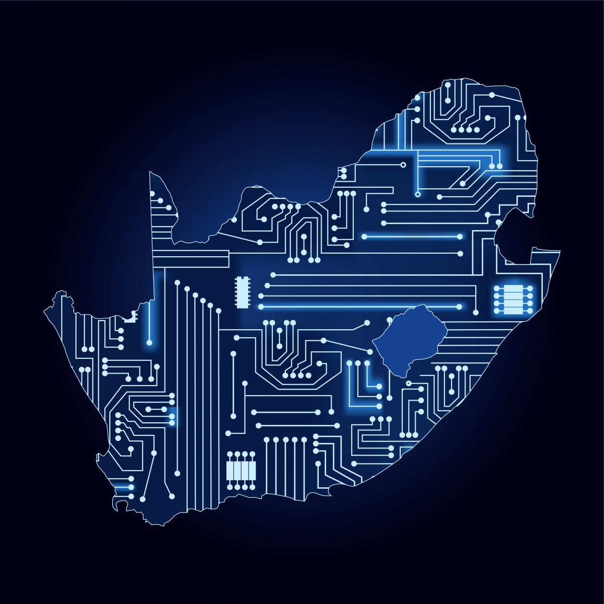 A map of South Africa with an electronic circuit imposed to represent technology.