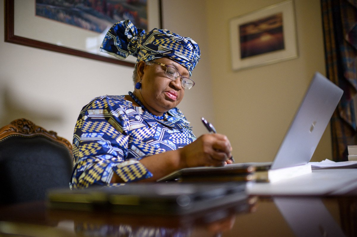 Ngozi Okonjo-Iweala working at her desk.