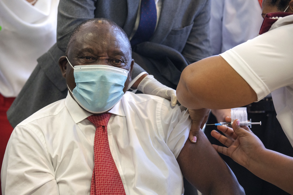 President Cyril Ramaphosa of South Africa is inoculated against Covid-19.