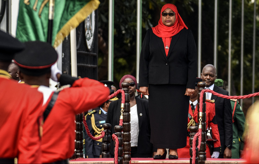 New Tanzanian President Samia Suluhu Hassan inspects a military parade following her swearing-in.