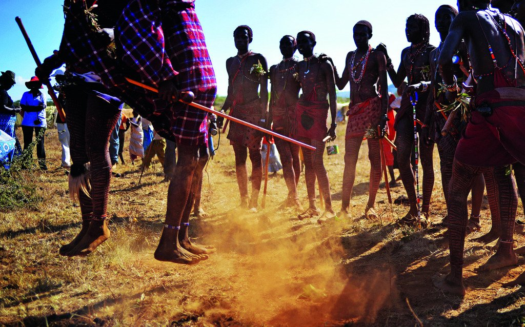 Young Maasai warriors arrive at Mount Suswa for a rite of passage ceremony.
