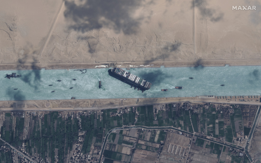 A satellite view of the container ship Ever Given stuck in the Suez Canal.