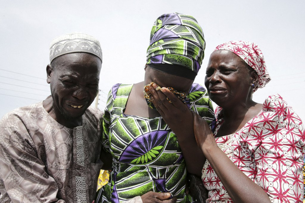 One of the released Chibok schoolgirls is reunited with her family.