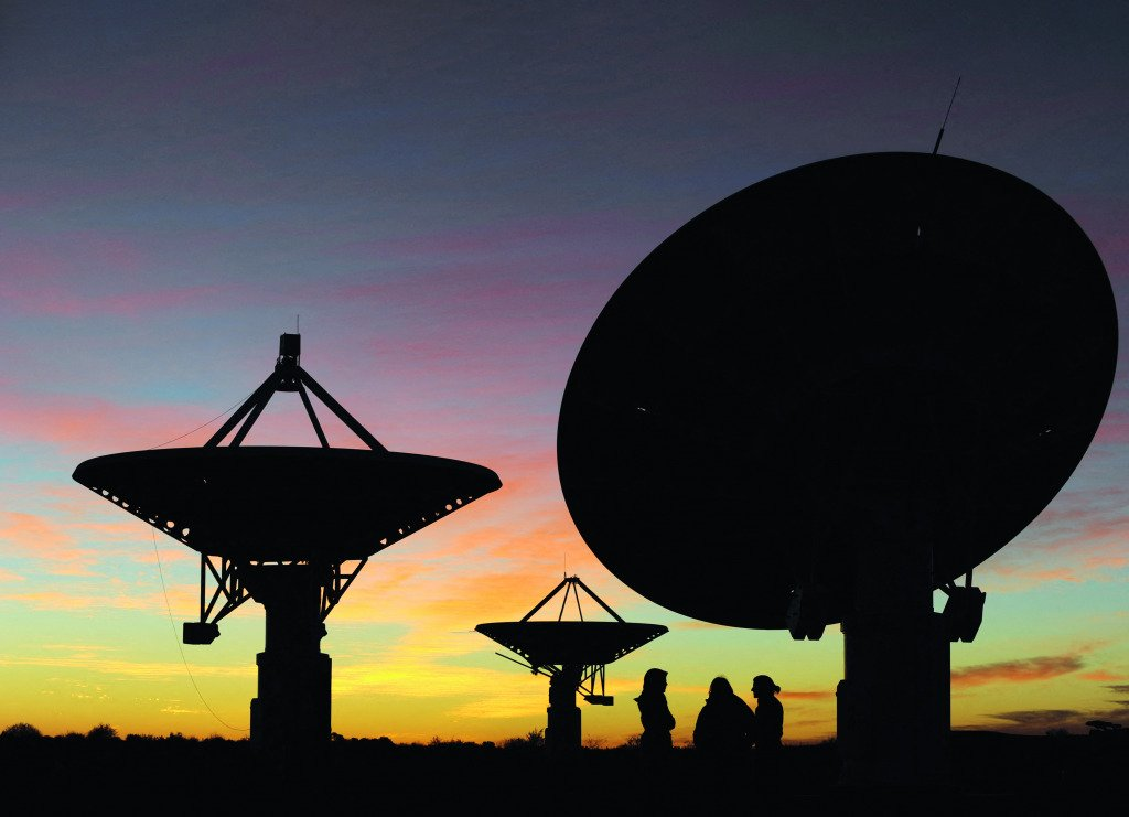 Radio telescopes in South Africa's Northern Cape province.