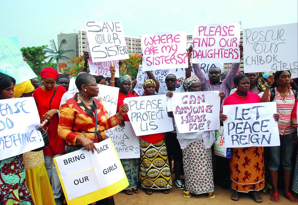 Former Nigerian Education Minister Obiageli Ezekwesilieze speaks as she leads a march of Nigeria women and mothers of the kidnapped girls of Chibok, calling for their freedom.