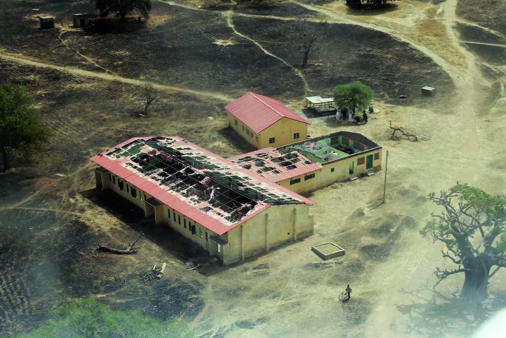 An aerial view of the school in Chibok, in northeastern Nigeria, from which Boko Haram Islamist fighters seized 276 teenagers.