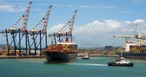 A container vessel in the port of Durban in South Africa.