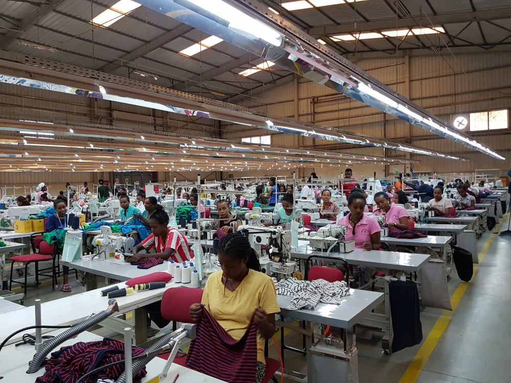 Workers in an Ethiopian textile factory.