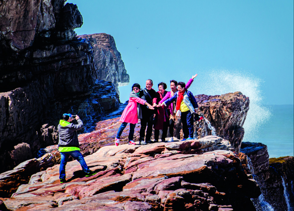 Chinese tourists at the Cape of Good Hope.