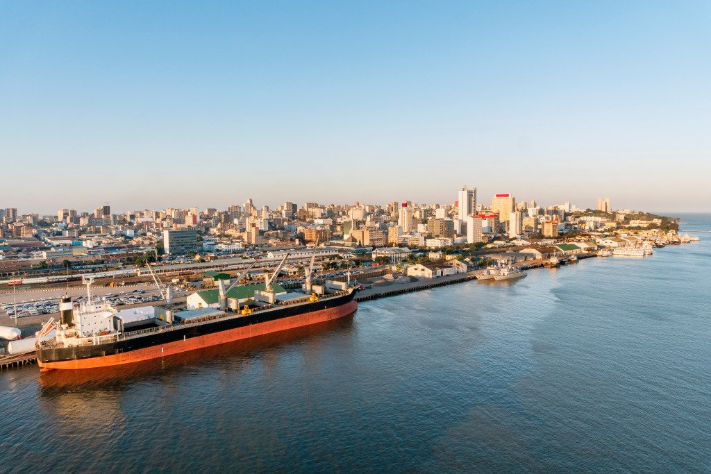 View of port of Maputo in Mozambique.