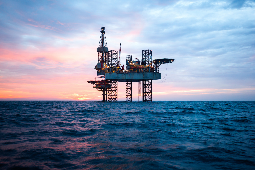 An offshore oil rig.