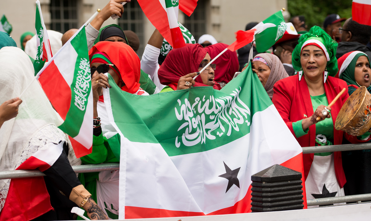 Demonstrators in Downing Street call for UK recognition of Somaliland.