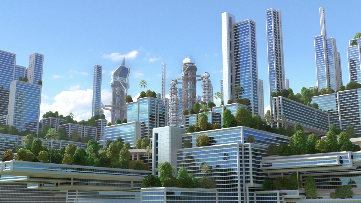 An artist's depiction of a city of the future with high-rise buildings and greenery.