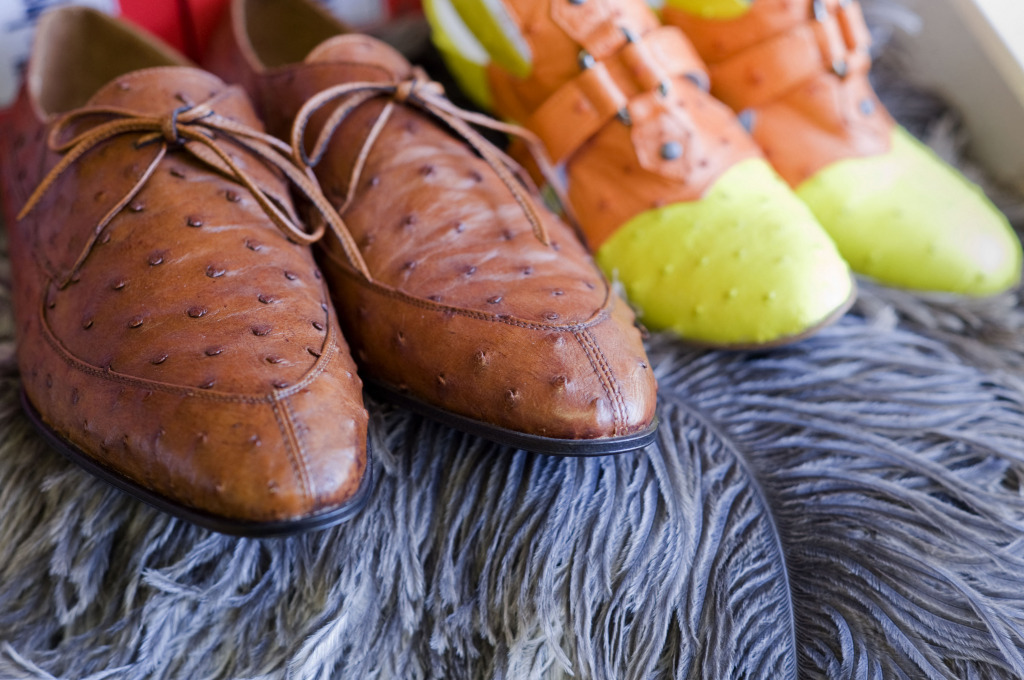Shoes made out of ostrich leather.