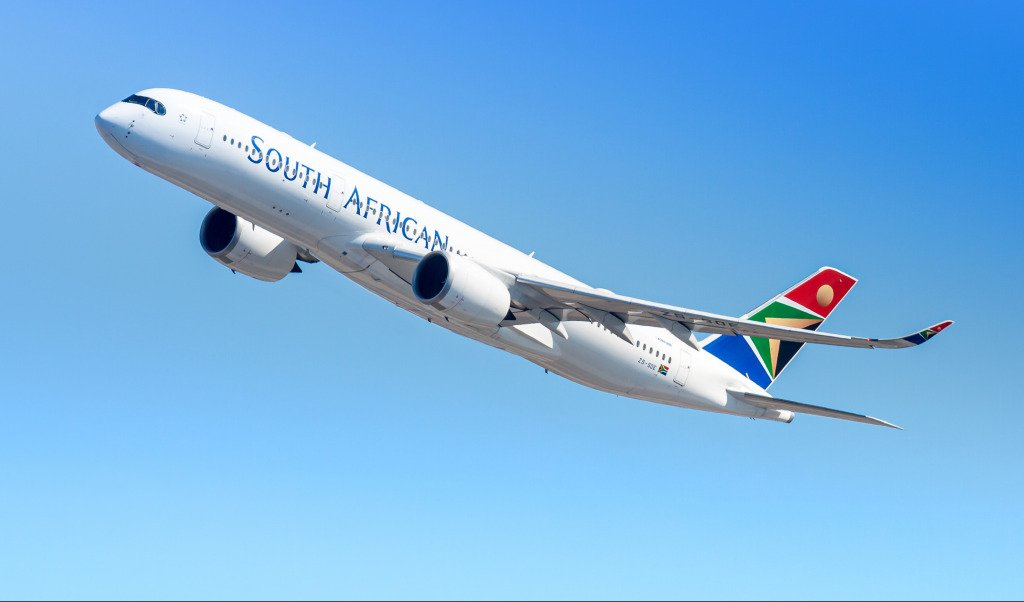 A South African Airways plane taking off.