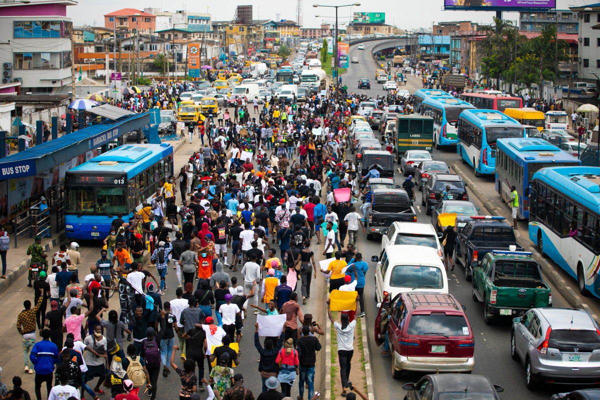 Protesters in a Lagos street.