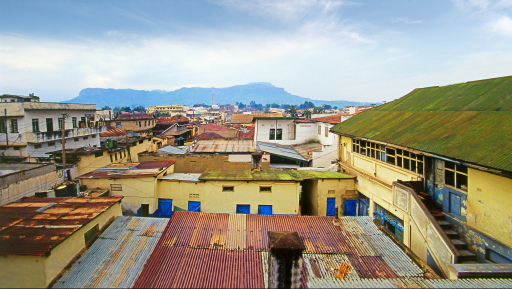 A view across the rooftops of Mbale in eastern Uganda