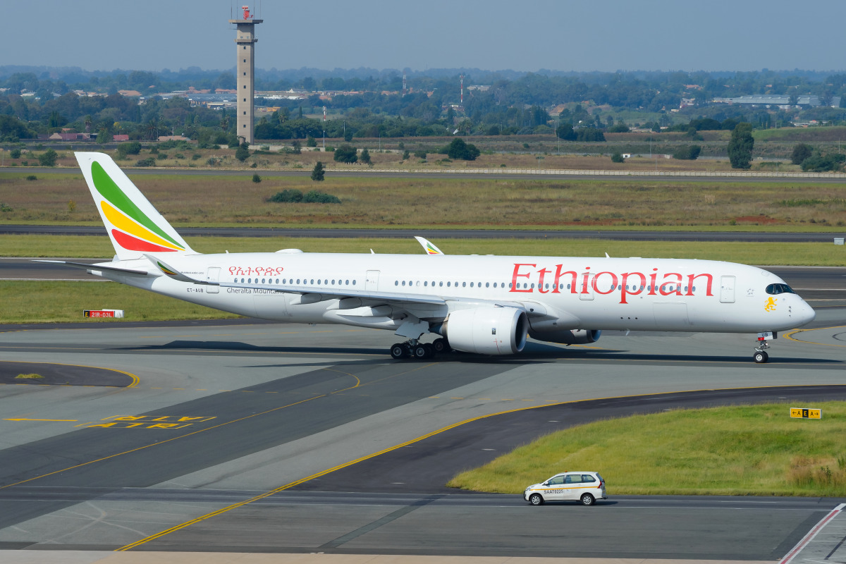 An Ethiopian Airlines Airbus A350 on the runway at OR Tambo International Airport in Johannesburg.