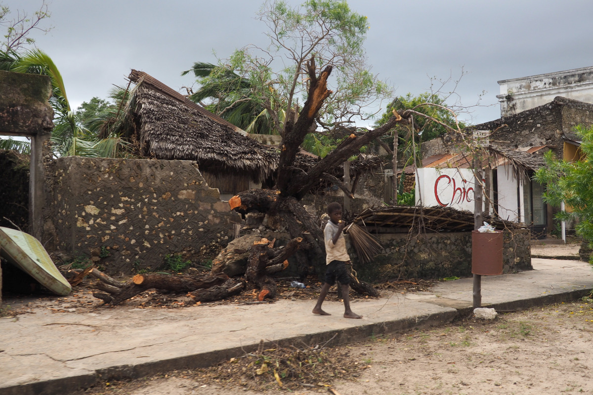 Houses devastated by cyclone in Pemba, Mozambique.