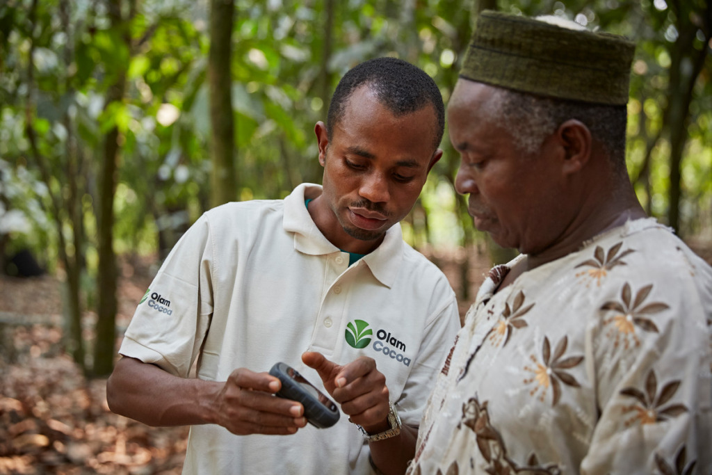An Olam employee shows a cocoa farmer how to use the Olam Direct app.