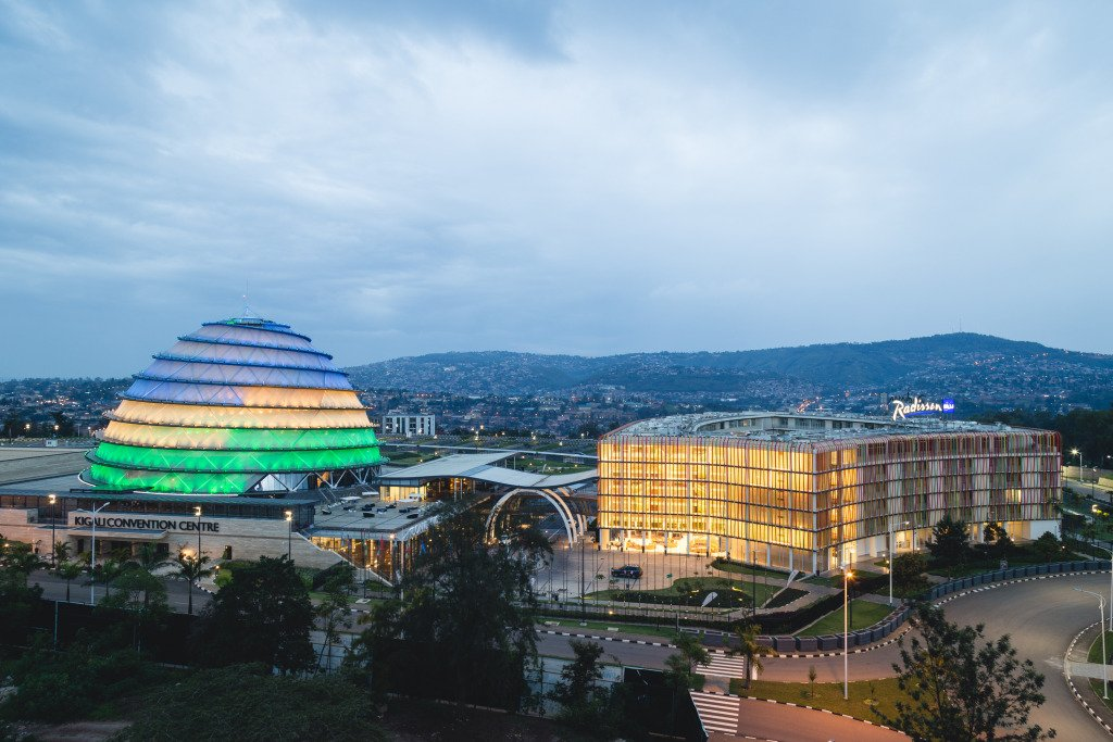 The Kigali Convention Centre (left) and the Radisson Blu Hotel and Convention Centre (right).