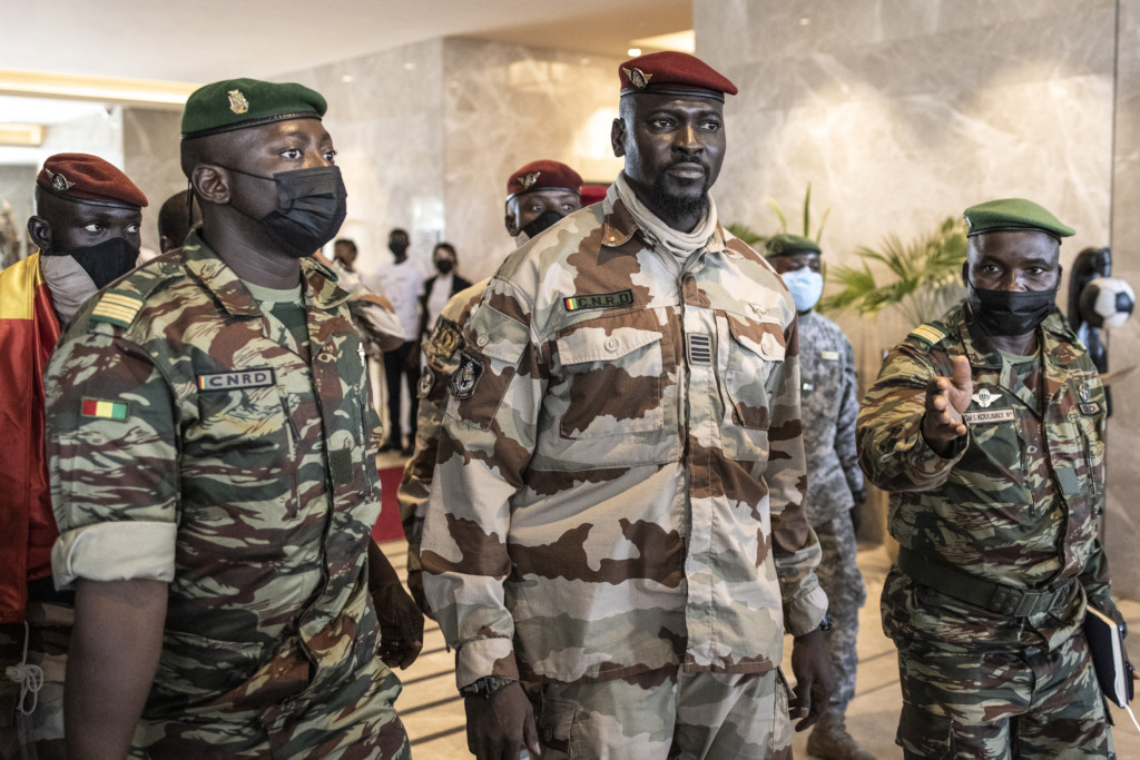 Colonel Mamady Doumbouya, leader of the Guinea coup, surrounded by his men.