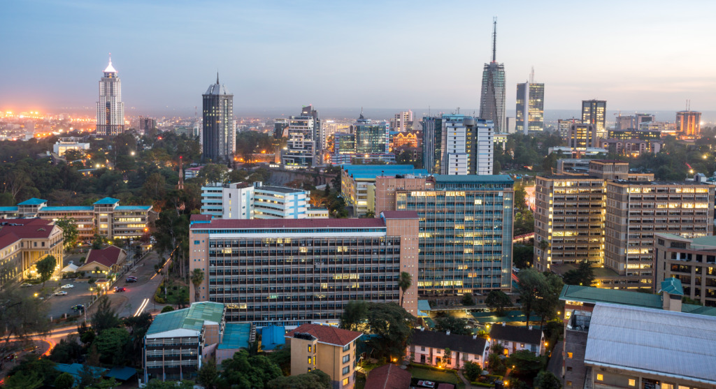 Aerial view of central Nairobi with modern buildings and skyscrapers.