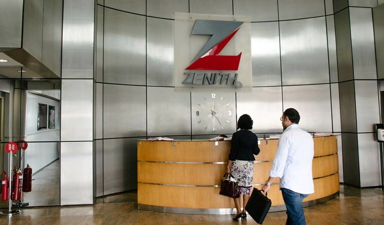 The foyer of a branch of Zenith Bank, with logo prominently displayed.
