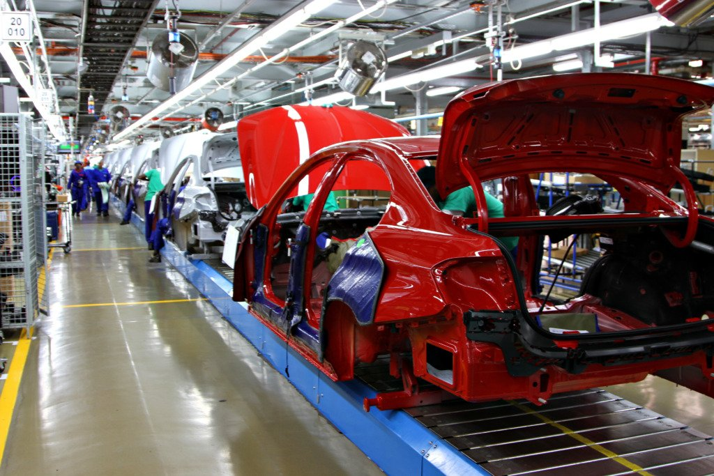 Cars on a production line in a South African factory.